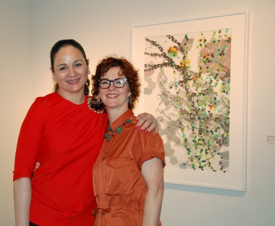 Patricia Ruiz-Healy and Leigh Ann Lester at the Infinite Horizons opening reception. Photo by Casandra Lomeli.