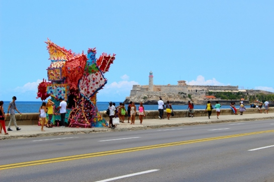 Public art installation on the Malecon boulevard along the Havana waterfront. El Morro, a 17th-century fort, is in the background. Photo by Page Graham, June 2015.